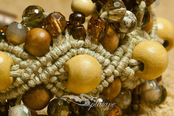 Simply macrame bracelet with agates crystals wood and by Splatane, €16.00