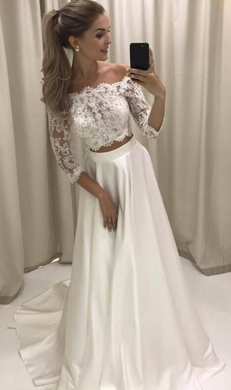 prom dresses, two piece long prom dresses, white long prom dresses, graduation dress, formal gown