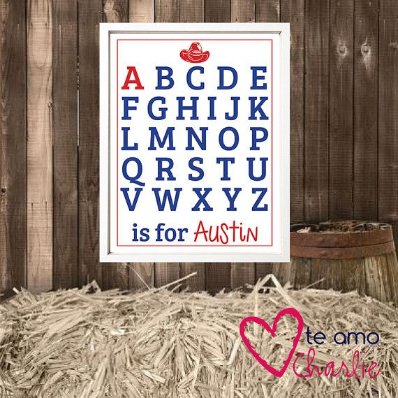 Western Alphabet Wall Art for a little cowboy #nursery