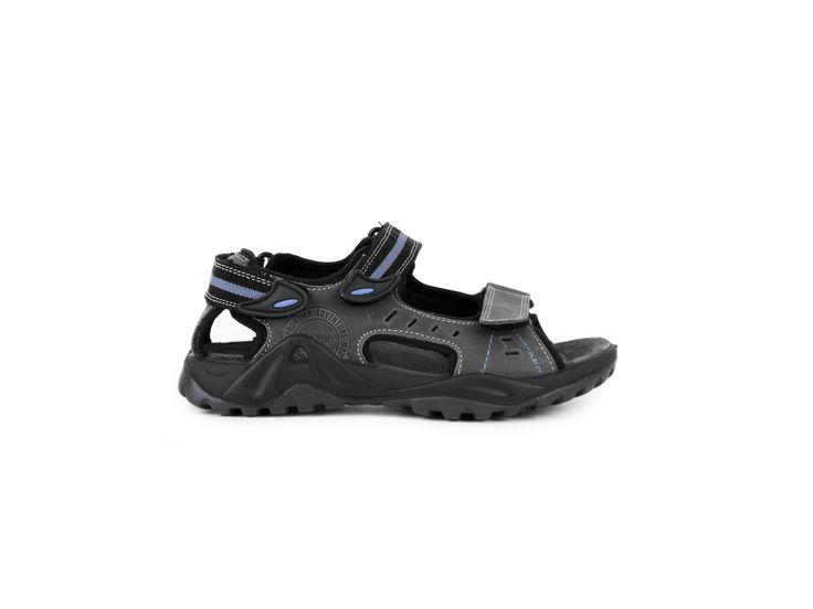Imac Dámské kožené sandály na suchý zip s přímým nástřikem / šedá