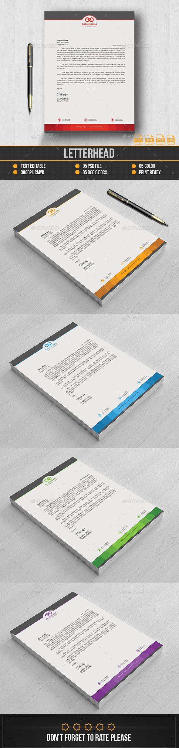 Letterhead Design Template PSD, MS Word
