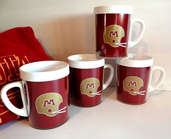 Vintage Minnesota Golden Gophers Football Championship Insulated Mugs Set of 4 NOS 1970s, Collectible Sports Memorabilia, Thermo-Serv USA