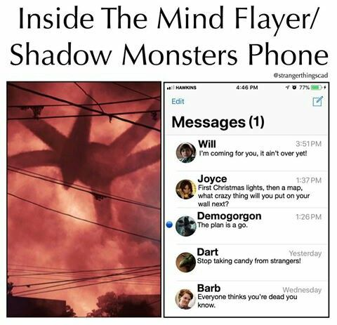 """The last text from barb """"everyone thinks your dead you know"""" is that some kind of spoiler or what I think she's dead thought"""