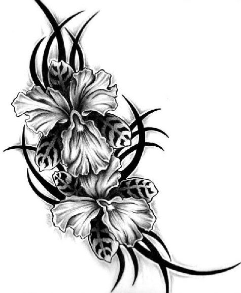 Orchid Tribal Image. This would be pretty in color! :)