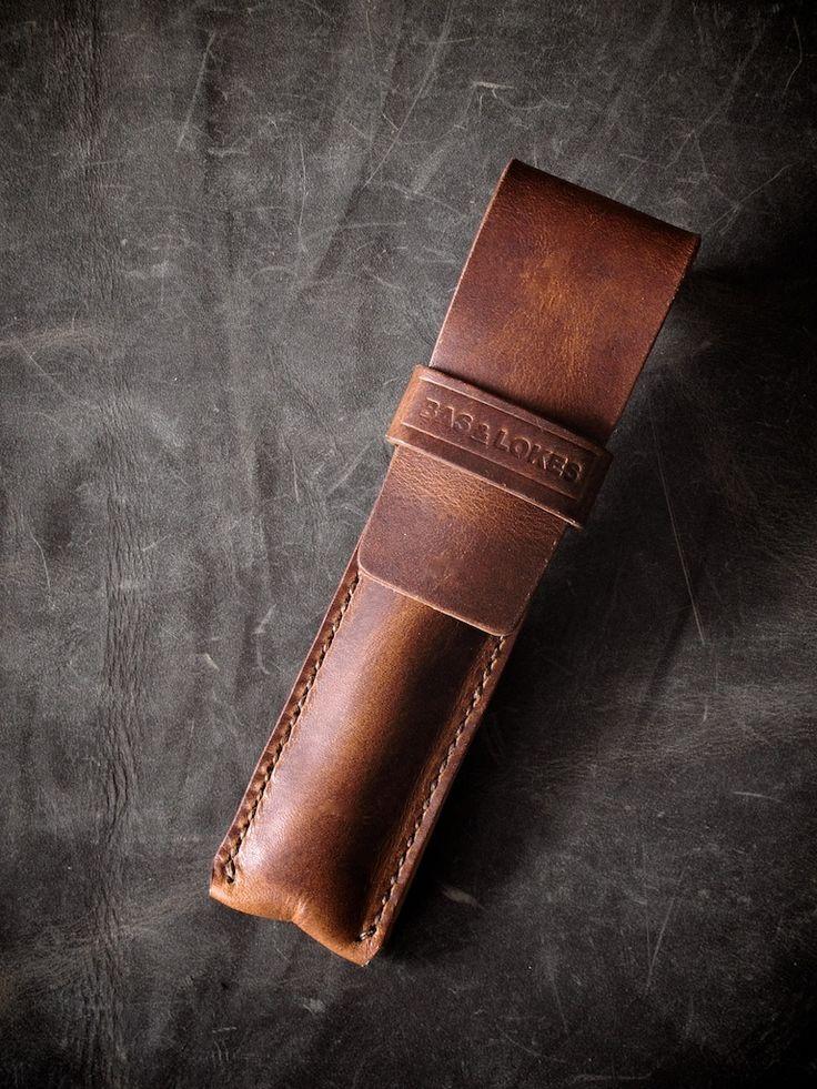 "Bas and Lokes Handmade Leather Goods - ""Reynolds"" Saddle Tan Handmade Leather Pen Case."