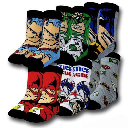 "DC Comics ""Justice League"" 6-Pack Toddler Crew Socks (3T/4T) DC Comics,http://www.amazon.com/dp/B00GIO6510/ref=cm_sw_r_pi_dp_AQ.ttb11YHZVE4MT"