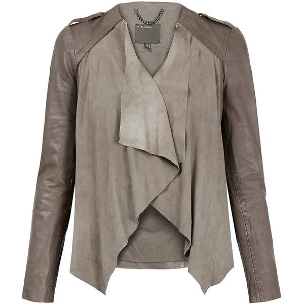 Muubaa Lupus Taupe Draped Suede and Leather Jacket ($195) ❤ liked on Polyvore featuring outerwear, jackets, grey, buckle leather jacket, open front jacket, draped leather jacket, draped jackets and real leather jackets