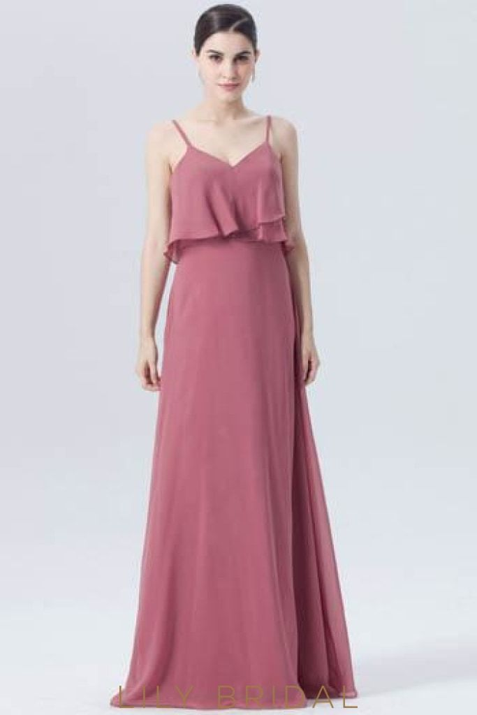 740c4ebffd4b Chiffon Spaghetti Strap Long Bridesmaid Dress With Ruffles ...
