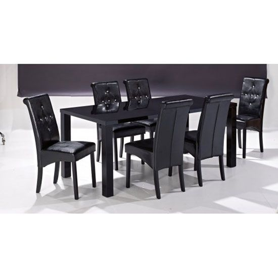 Morna Black High Gloss Finish Large Dining Table Only198 best Dining Room Furniture images on Pinterest   Dining room  . High Gloss Black Dining Room Furniture. Home Design Ideas