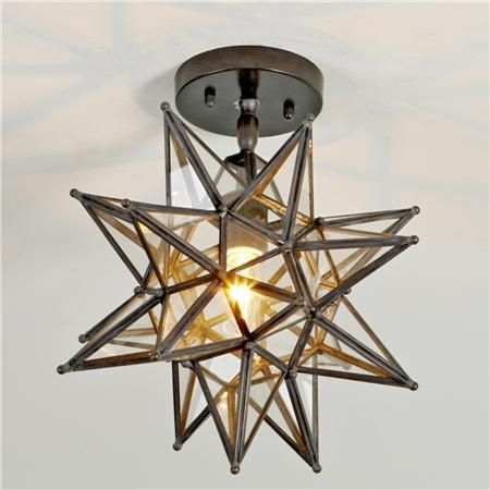 "shadesoflight - Moravian Star Ceiling Light - Bronze finish, clear glass panel (14""Hx13.5""W)"
