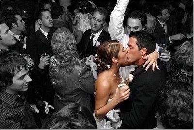 With only the bride and groom in color. looks like a moment frozen in time... cute photography ideas
