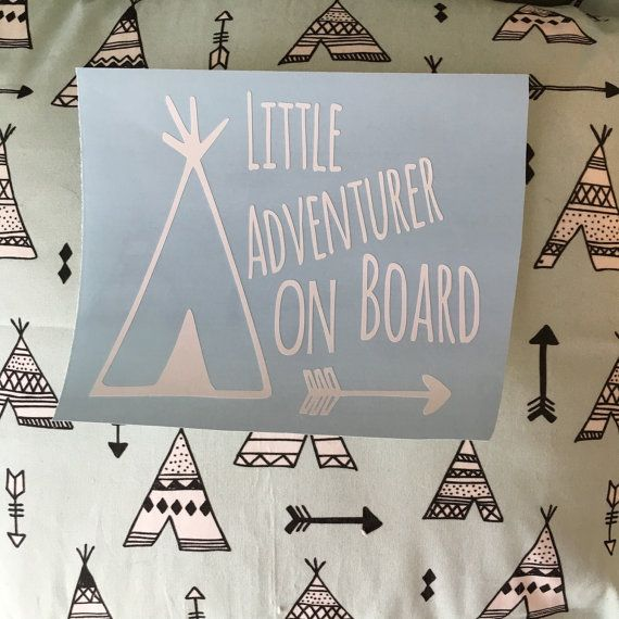Car decal Baby On Board Decal Sticker Adventure by PinkPeonyPrints