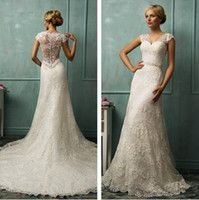 amelia sposa 2014 prices - 2014 Vintage Wedding Dresses Bit V Neck Short Capped Sleeve Sexy Sheer Back A Line Chapel Train Beaded Lace Bridal Gowns Amelia Sposa W-304
