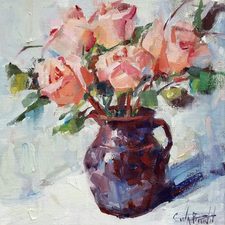 """""""Whispers in the morning"""" pink roses, oil painting, impressionism Gina Brown Art"""