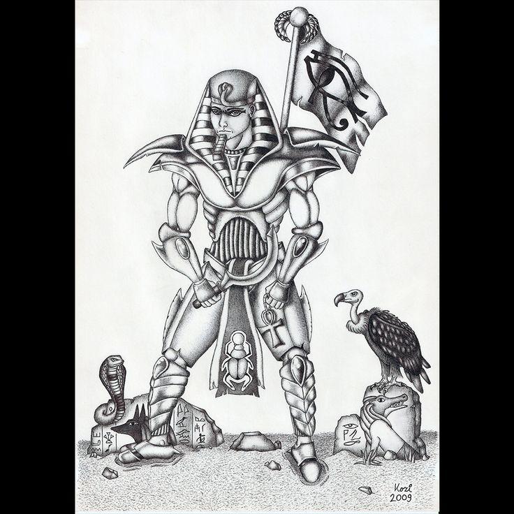 Egyptian warrior | ballpoint pen drawing | 2009 on Behance