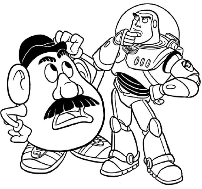 toy story buzz and head potato coloring pages