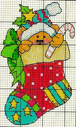 orsetto nella calza di babbo Natale - punto croce - cross Stitch - Kreuzstich - Punto de Cruz