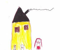 The house I live in is yellow like the sun, in the top of the house there is a secret room where only my friends can enter. Mona, 6 years