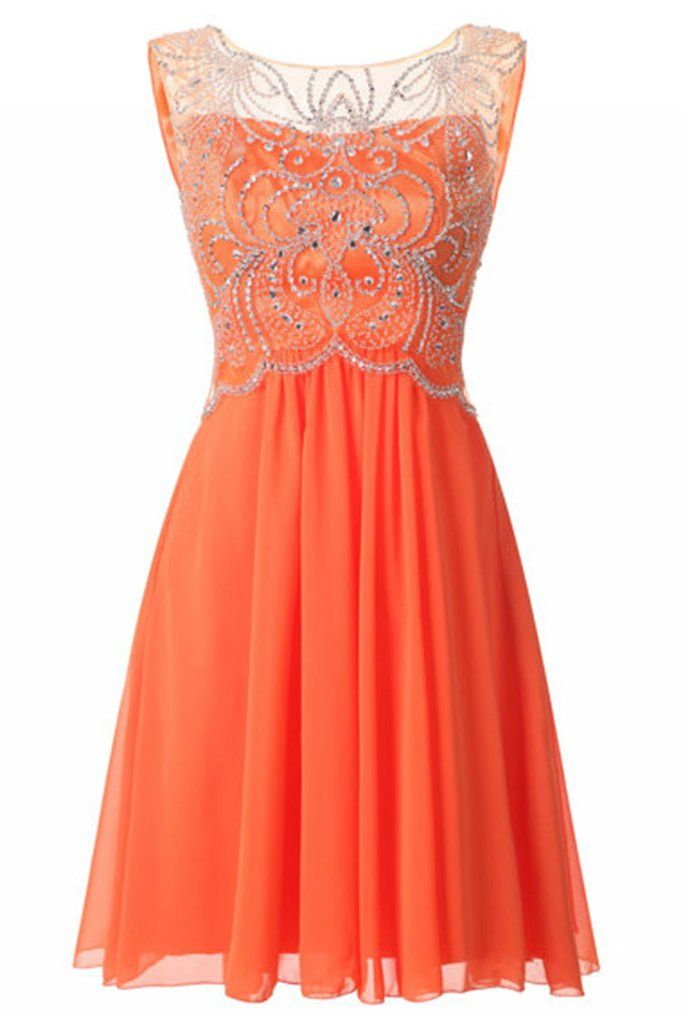 Sequins prom dress, short prom dress, cute orange chiffon sequins prom dress for teens