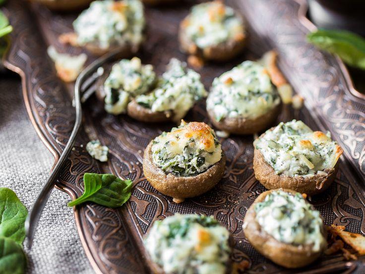 Feierabend-Happen: Gefüllte Champignons mit Spinat