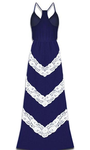 Lace chevron maxi dress