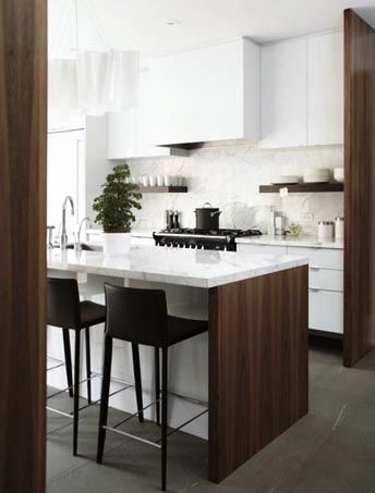 Contemporary Kitchen Design Ideas And Inspiration, Wooden And Marble  Island, White Cabinets, Tall Black Chairs, Modern Kitchen