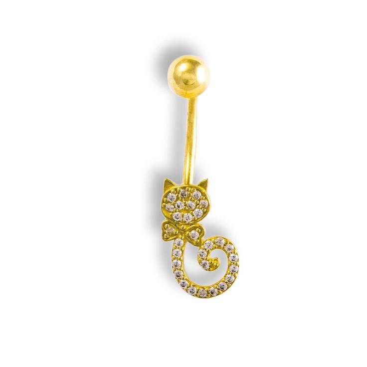 Luxusní Zlatý piercing do pupíku - Kočička s mašlí
