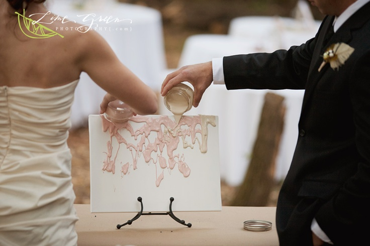 Bride and groom created a unity painting instead of a unity candle during the ceremony.  A great keepsake for after the wedding!: Groom Created, Wedding Ideas, Weddings, Candles, Unity Painting, Bride, Paintings, Unity Candle