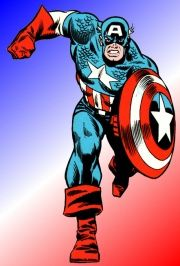 """* * * CAPTAIN AMERICA * * * in world war II patriotic soldier steve rogers, recipient of the """"super soldier serum"""", became a living symbol of freedom as a superhero.  left for dead while frozen in ice, the star-spangled hero with an indestructible shield, awoke years later to continue his never-ending battle for liberty! * * *  marvel comics"""