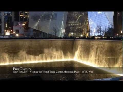 Video of the WTC 9/11 Memorial - Former Twin Towers - World Trade Center New York - Illumination of the pools by night