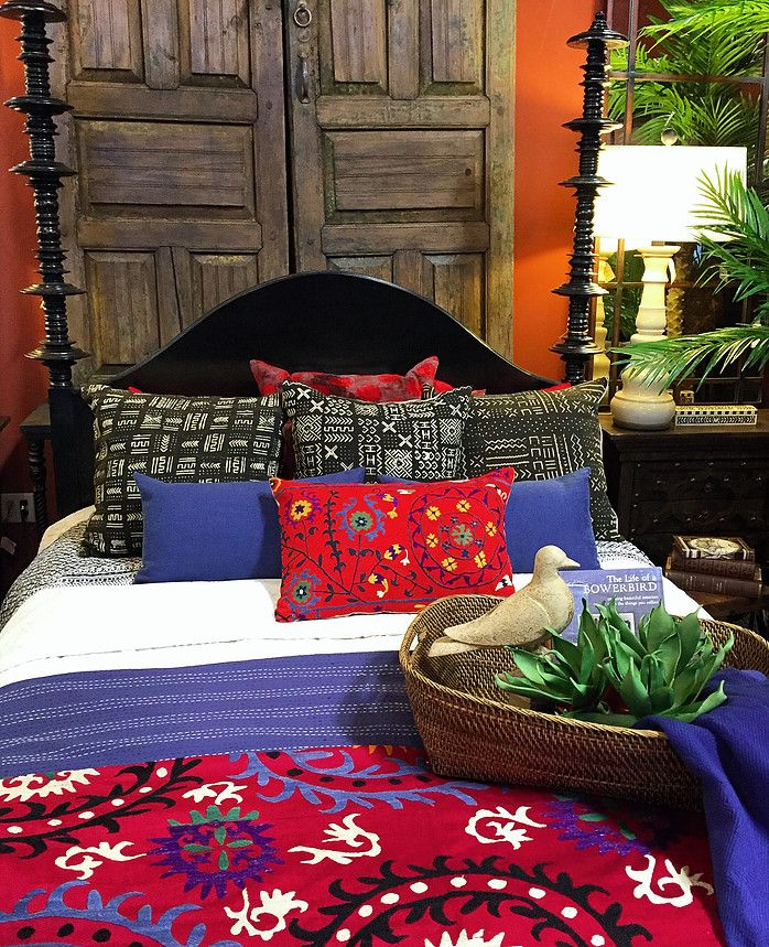 Bright, Bold Bed With Suzani And Mudcloth   Old Alder Doors From San Miguel  De. Global StyleFurniture StoresIslamic ArtEthnicSpainSan ...