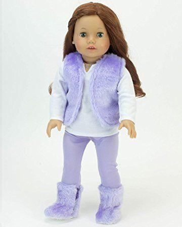 18 pulgadas muñeca Equipo 4 del pedazo púrpura chaleco de piel fijado por Sophia, se ajusta a la muñeca American Girl y más!  4 piezas traje de muñeca de 18 pulgadas incluye camisa blanca, púrpura y botas de piel de chaleco con polainas púrpuras