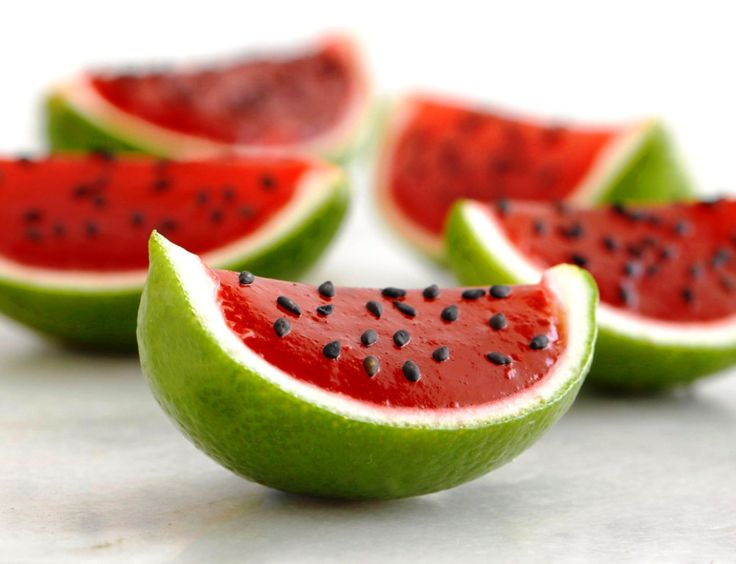 This is a Watermelon Jello!  First cut of the red part of the watermelon from a half of a watermelon. Make strawberry or watermelon jelly and pour it in the watermelon. Put it in the refrigerator until ready. Add chocolate chip on it so it will look like the seeds. Next step is munch!