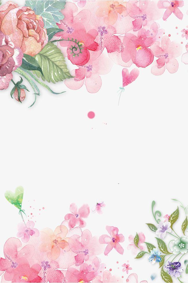 Fundo floral decorativo Pintado à mão de Flores cor - de - Rosa, Pintados à Mão Flor, Flores Cor - De - Rosa Decoração, Decoração Com Flores Pintadas à MãoPNG e PSD