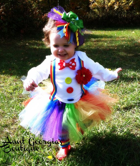 Adorable Clown Halloween Costume W Matching Hairbow And