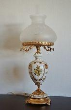 Alte Limoges Porzellan Tischlampe handbemalt Stehlampe Tischleuchter 73 cm hoch