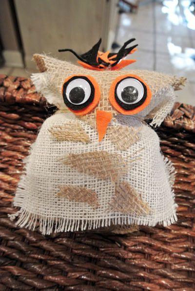 BURLAP OWL WITH A BALL JAR
