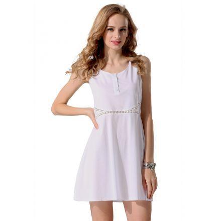 Modaling Vestido de Punto Fino para Mujer-Blanco