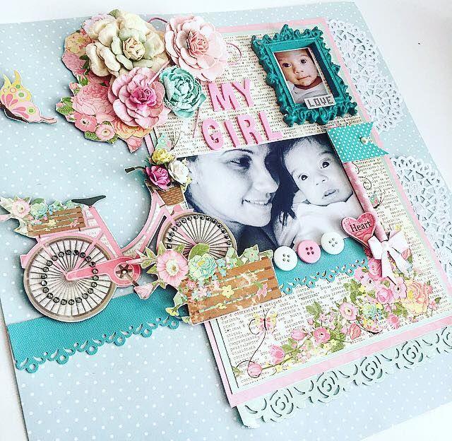 página decorada com papéis coleção primavera, furador de borda, flores artesanais e adesivos