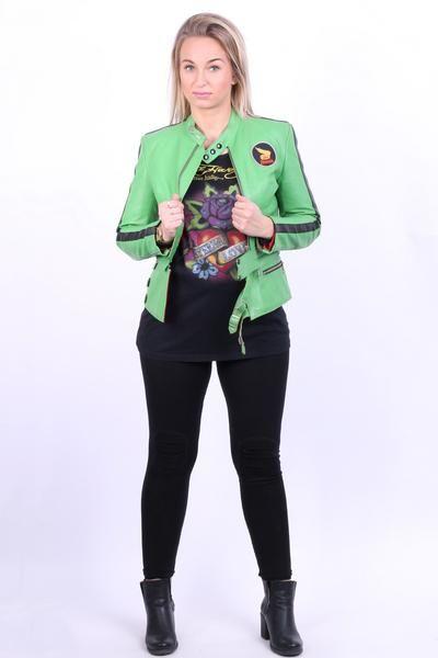 Harro Kombi Womens 38 M Jacket Leather Stand-Up Collar Biker Honda - RetrospectClothes
