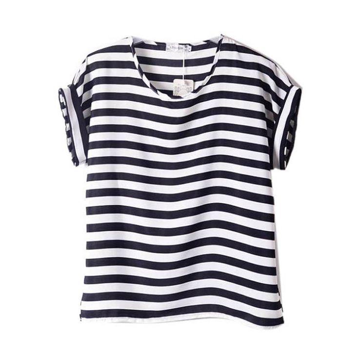 Women Chiffon T-Shirts Ladies Loose Short Sleeve Shirts Striped Heart Lip Tops