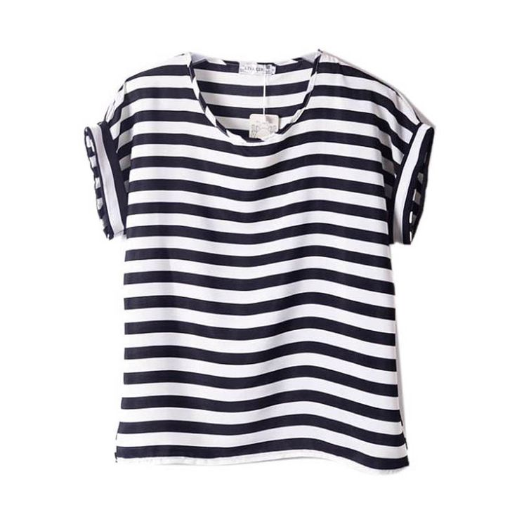 Women Chiffon T Shirts Tops Loose Short Sleeve Ladies T-shirts Striped Heart Lip Tops HOT 15 Colors