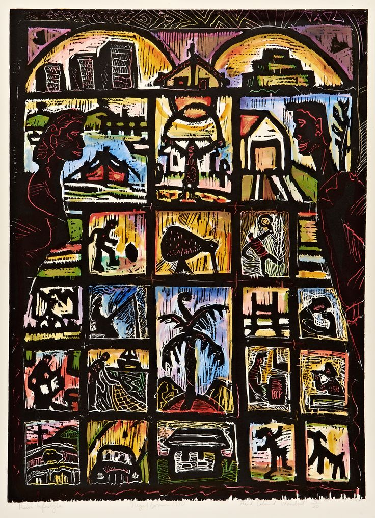 Nigel Brown Kiwi Lifestyle (1990) Hand-coloured woodcut  900 x 660mm Element: Line, Size, Colour, Pattern Principle: Value, Unity, Rhythm