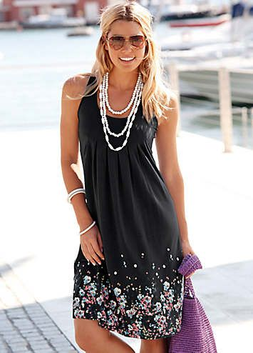 Beachtime Black Petal Print Sun Dress | Holiday Fashion | Womens | Swimwear365