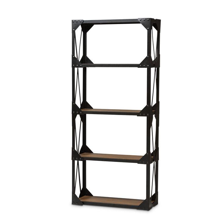 hudson antique black metal wood tall shelving unit. Black Bedroom Furniture Sets. Home Design Ideas