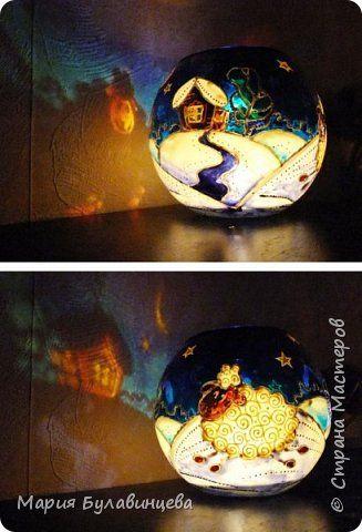 Декор предметов Новый год Рождество Витраж Ваза-подсвечник Барашки Краска Стекло фото 4