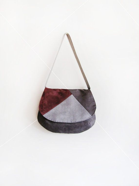 Medium suede geometric grey bag / minimalist by GabardineCouture