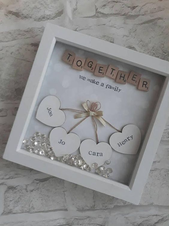 Gift For Mother, Personalised Family Gift, Gift For Couple, Present For Parents, Mothers Day Gift, Mothering Sunday, Shadow Box Frame