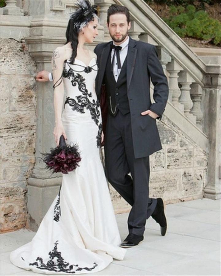 White And Black Lace Gothic Wedding Dress Black Wedding Dresses