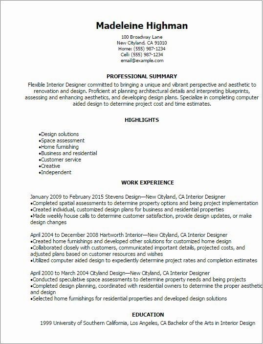 Interior Design Resume Sample Monster Interior Designer Resume